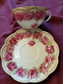 Haviland Limoges Tea Cup and Saucer Dark Rose Excellent