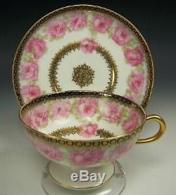 Haviland Mckinley President Drop Rose Footed Tea Cup & Saucer Set #1
