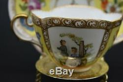 Helena Wolfsohn Dresden German Yellow Quatrefoil Watteau Scenes Tea Cup & Saucer