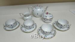 Herend Blue Garland Tea Set Tea Pot, Cream, Sugar 4 cups and Saucers Mint