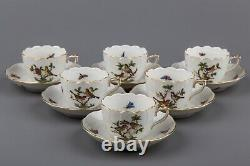 Herend Rothschild Bird Coffee Mocha Set for Six People, 17 Pieces