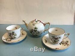 Herend Rothschild Bird small teapot tea set with 2 cups & 2 saucers