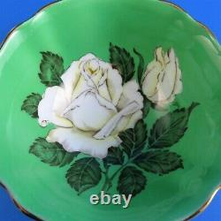 Huge Painted White Rose on Green Background Paragon Tea Cup and Saucer Set