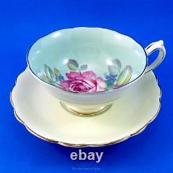 Huge Pink Rose on Green Background with Pale Yellow Paragon Tea Cup and Saucer