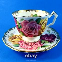 Huge Three Rose Bouquet with Gold Edge Aynsley Tea Cup and Saucer Set