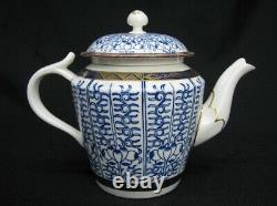 Late 18th Century Dr. Wall Worcester Tea Pot with Handless Cups & Saucers (112)