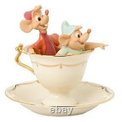 Lenox Disney Cinderella Tea Party Pals Figurine Gus Jaq Mouse Teacup Saucer NEW