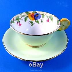 Light Green with Morning Glory Design Flower Handle Aynsley Tea Cup & Saucer