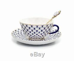 Lomonosov 15-pc Dining Tea Cup Set, Russian Saint Petersburg Cobalt Blue Net
