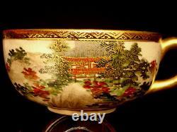 MARKED Shozusan JAPANESE MEIJI PERIOD SATSUMA TEA CUP & SAUCER SET OF 2