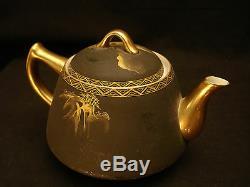 MARKED Shuzan JAPANESE TAISHO SATSUMA EGG SHELL CUP SAUCER PLATE TEA COFFEE SET