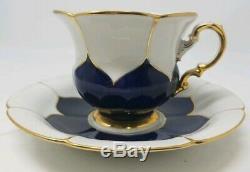 Meissen B Form Cobalt Blue and Gold Oversized Tea Cup & Saucer