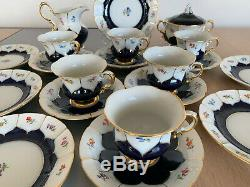 Meissen Hand Painted Cobalt Blue Gold TeaSet for 6pers Cups, Saucers and Plates