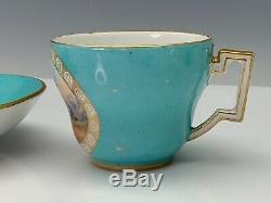 Meissen Porcelain Cup & Saucer Neoclassic Period Scenic Turquoise Ground c 1800