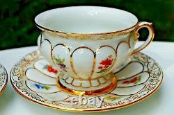 Meissen handpainted X form 2x large tea cups with 2x saucers