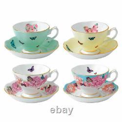 Miranda Kerr For Royal Albert Teacups and Saucers, Set of Four NEW HAT BOX