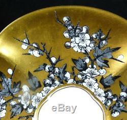 N824 C1890 Antique Coalport Porcelain Quatrefoil Cup Saucer Hawthorn Gold Ground