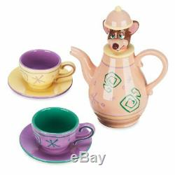 NEW! Disney Parks Dormouse Tea Set Alice in Wonderland Teapot Cups Saucers RARE