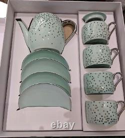 NEW Teavana Mint Green Glitter Drop Tea Set with Teapot 4 Cup 4 Saucer Set