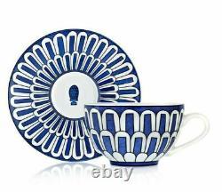 New Hermes Bleus D'ailleurs Pair Of Teacups And Saucers #p030016p Brand Nib F/sh