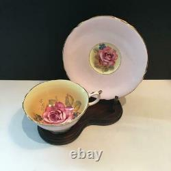ONE PARAGON PINK CABBAGE ROSE With YELLOW DOUBLE WARRANTED TEACUP & SAUCER SET