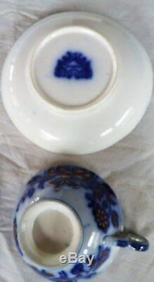 ORIENTAL Pattern Flow Blue Cup & Saucer, gold accents- Samuel Alcock