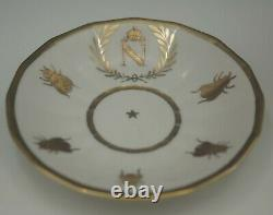 Old Paris Porcelain Gold Gilt Napoleon Eagle & Bee Cup And Saucer Antique