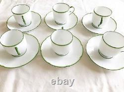Original Raynaud Limoges France Villandry tea cup saucer basketweave 6 pc green