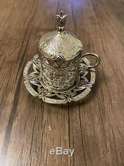 Ottoman Turkish Silver Metal Tea Coffee Saucers Cups Tray Set UK SELLER