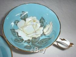 PARAGON China WHITE CABBAGE ROSE Tea Cup & Saucer Queen Mary EX