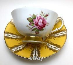 PARAGON Yellow Gold Tea Cup & Saucer CABBAGE ROSE