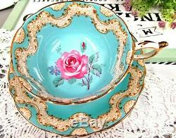PARAGON tea cup and saucer pink rose Tiffany blue color teacup Victoria pattern