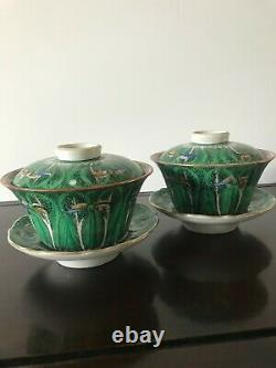 Pair Of Chinese Famille Rose Porcelain Chinese Cabbage Tea Cup / Saucer with Lid