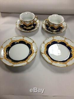 Pair of Antique Meissen Cobalt Blue Gold Tea Cups, Saucers, Plates