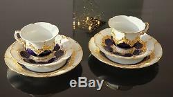 Pair of Antique Meissen Hand Painted Cobalt Blue Gold Tea Cups, Saucers, Plates