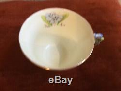 Paragon 1933-34 Blue Flower Handle Floral Tea Cup And Saucer China