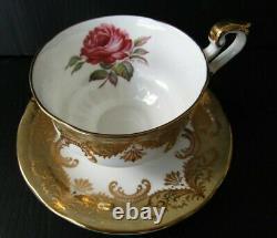 Paragon Antique Rose Signed Johnson Vintage Gold and Rose Teacup and Saucer Set