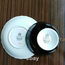 Paragon Black Teacup & Saucer Floating Three Roses on Heavy Gold Bowl