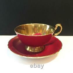 Paragon Burgundy Floating Cabbage Rose Tea Cup & Saucer Set Minor Crazing Cs42