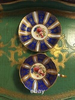 Paragon Cobalt Blue Tea Cup And Saucer With Fruits Peaches Centre