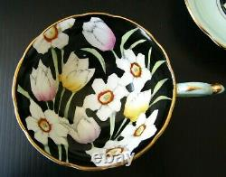Paragon Daffodils & Tulips on Black Tea Cup and Saucer Set Narcissus. England