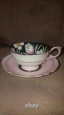 Paragon Daffodils & Tulips on Black with pink Tea Cup and Saucer Set England