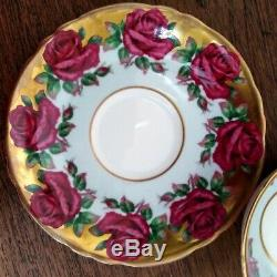 Paragon Double Warrant Blue Colour Red Cabbage Roses Heavy Gold Teacup & Saucer