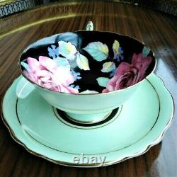 Paragon Double Warrant Green Teacup & Saucer Two Pink Cabbage Roses Hand Painted