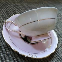 Paragon Double Warrant Hand Painted Cabbage Roses Pink Teacup & Saucer