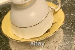 Paragon Double Warrant Yellow Tea Cup Saucer With White Rose