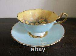 Paragon England Tea Cup And Saucer Orchard Fruit Yellow Light Blue Signed