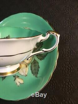Paragon Green Tea Cup And Saucer Handpainted White Daisies/poppies Floral Cup