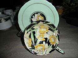 Paragon Hand Painted Daffodil on Black Tea cup and Saucer made in England
