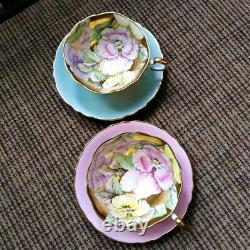 Paragon Heavy Gold Blue Teacup & Saucer Floating Three Pansy Flowers